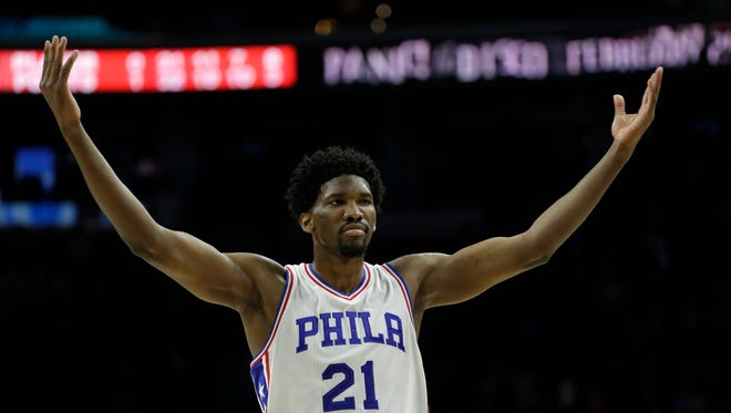 Philadelphia 76ers' Joel Embiid in action during an NBA basketball game against the Miami Heat, Monday, Nov. 21, 2016, in Philadelphia.