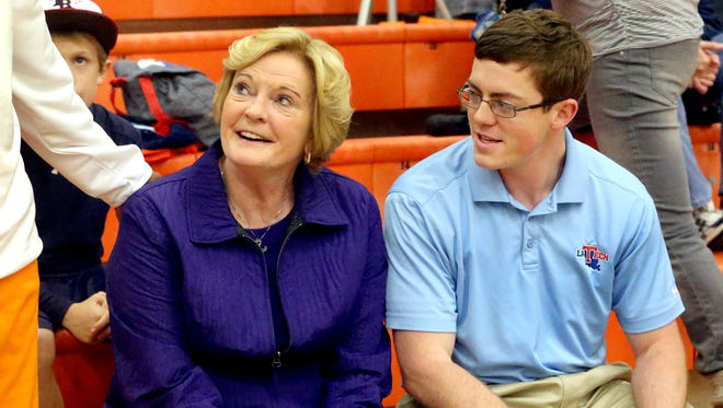 Pat Summitt, left, will be in Murphy Center Saturday night for the MTSU women's basketball game against Louisiana Tech. LA Tech is coached by Summitt's only son, Tyler (right).