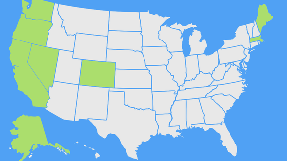California, Nevada, Massachusetts and Maine are joining Colorado, Washington, Oregon and Alaska -- the states in green on the map -- in legalizing recreational marijuana.