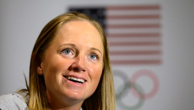 Stacy Lewis answers questions during the 2016 Team USA Media Summit at Beverly Hilton.