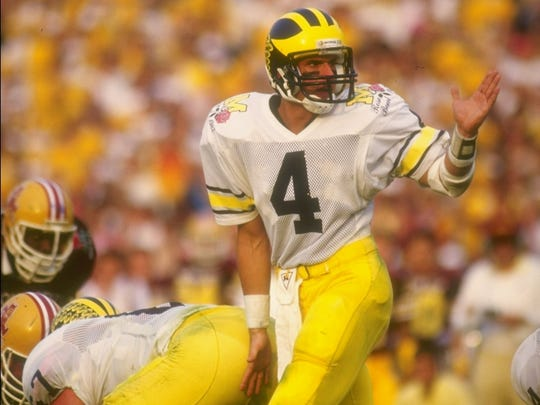 Harbaugh during the Rose Bowl in 1987.
