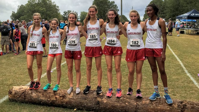 The Carolina Day girls cross country team.