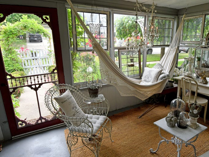 The front porch of Linda Cordone in Milford is an inviting