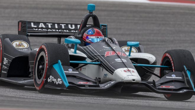 Colton Herta of the United States handles a corner during the 2019 IndyCar Classic at Circuit of the Americas. The then-18-year-old won the race, becoming the youngest driver to notch a victory in IndyCar history.