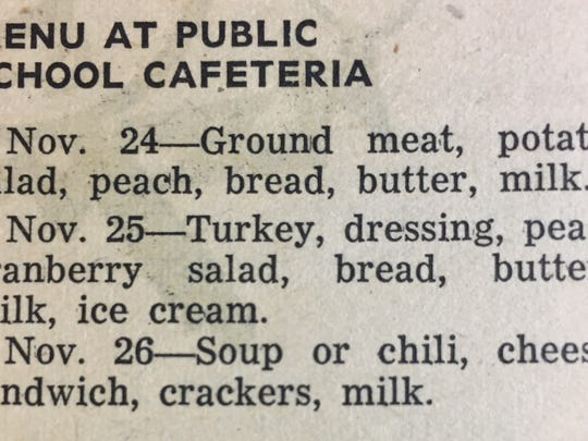 The school cafeteria menu for a week in November of 1952.