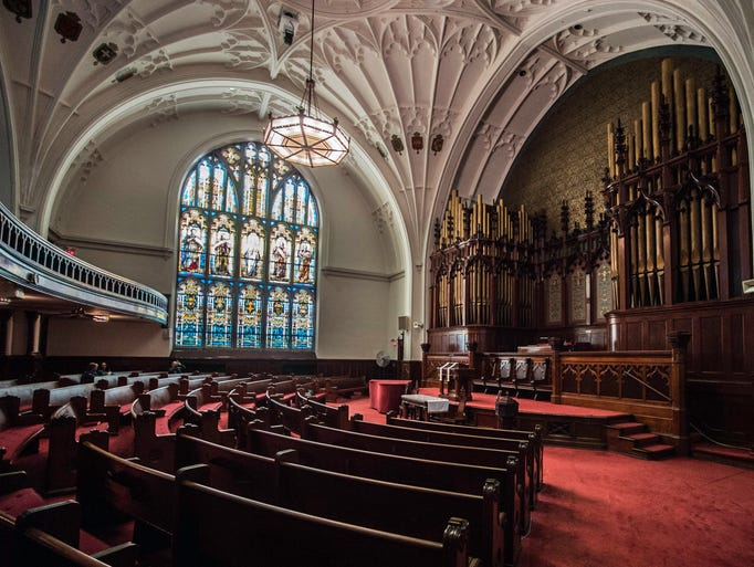 The sanctuary at the Reid Memorial Presbyterian Church,