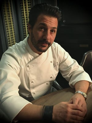 Master pastry chef Johnny Iuzzini talks eclairs in the Steve McQueen Room at Le Méridien hotel's Spoke & Steele, where eclairs are served.