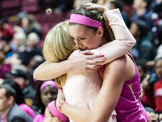 Gabby Bevillard celebrates after making her first and possibly last appearance for Florida State.