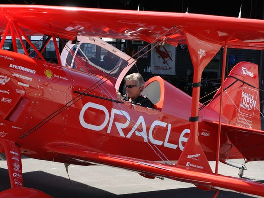 "Salinas native and National Aerobatics Champion ""visualizes"" his routine during a recent practice flight session at the Salinas Municipal Airport. (April 2015)"