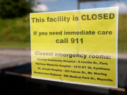 Signage on Emergency Room door at Nicholas County Hospital, which closed in May 2014 in Carlisle, Ky.