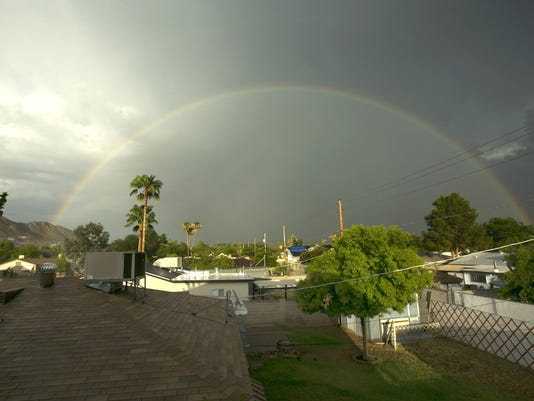Phoenix rainbow after monsoon storm Friday, Aug. 7, 2015