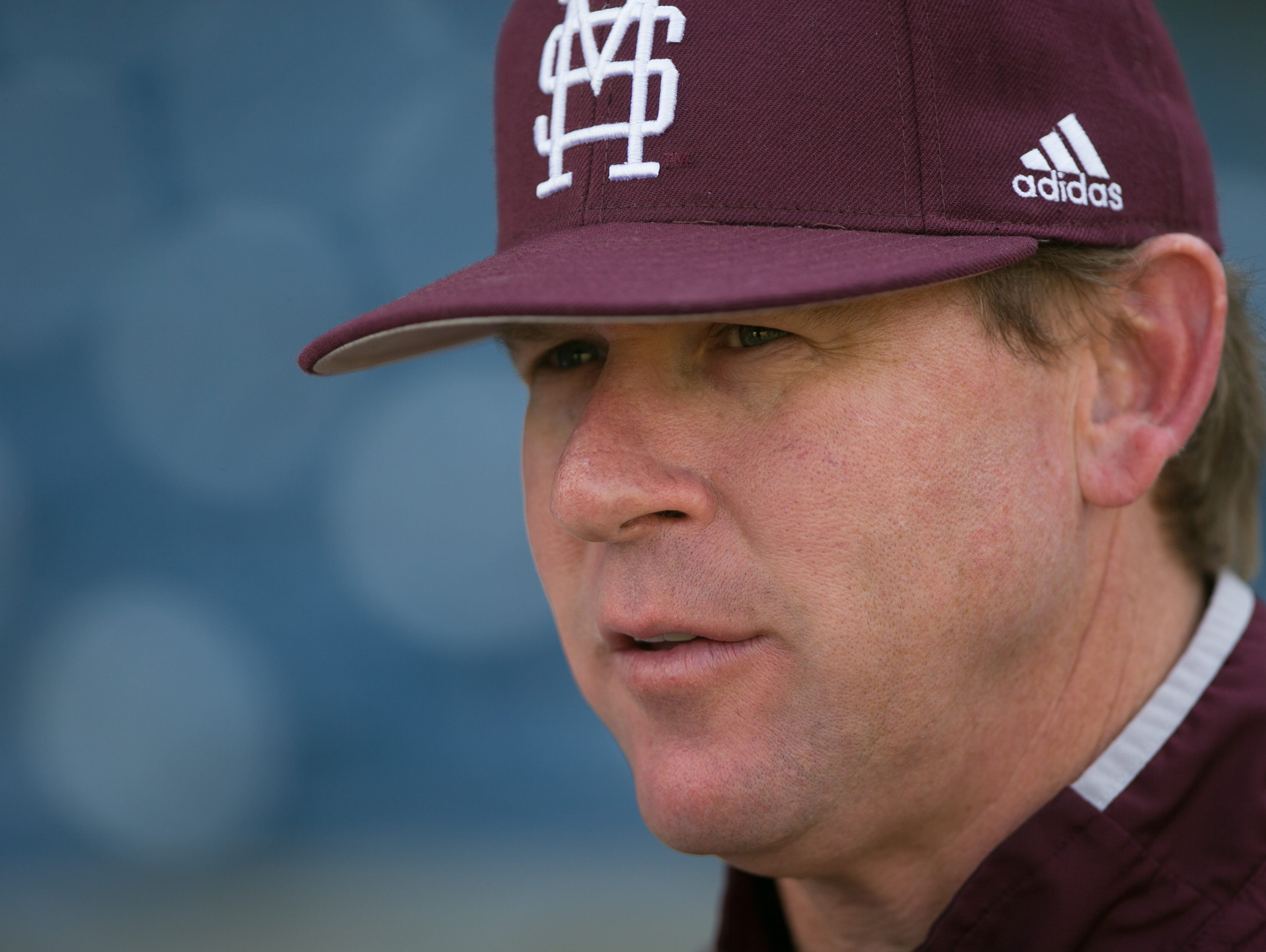 Mississippi State University head baseball coach John Cohen talks to the media prior to the Bulldogs' game against USM at Trustmark Park in Pearl on March 24, 2015. Photo by Keith Warren