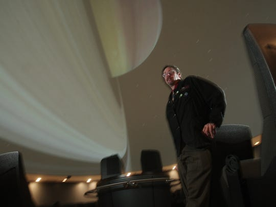 Chris Fenwick, astronomer at the Longo Planetarium at the County College of Morris. Fenwick is presenting 'Astronomagic for Muggles (The Skies of Harry Potter), in an upcoming show at the planetarium. October 14, 2015, Randolph, NJ.