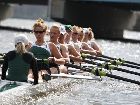 Michigan State University Athletic Director Bill Beekman announced the hiring of Kim Chavers as the next MSU women's rowing head coach Tuesday. Michigan State's varsity eight is seen in this 2010 file photo.