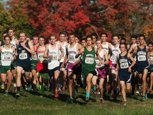 Start of the Northwest Jersey Athletic Conference varsity large school boys cross country championships at Greystone Park. October 20, 2015, Morris Plains, NJ