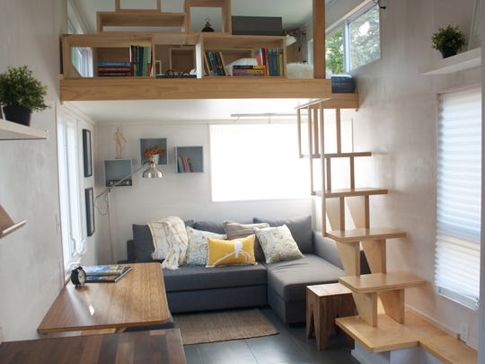 The interior of a house from Liberation Tiny Homes, designed by James Stoltzfus.
