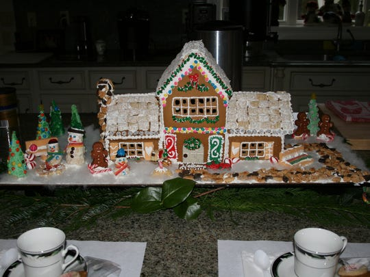 Handmade gingerbread house.