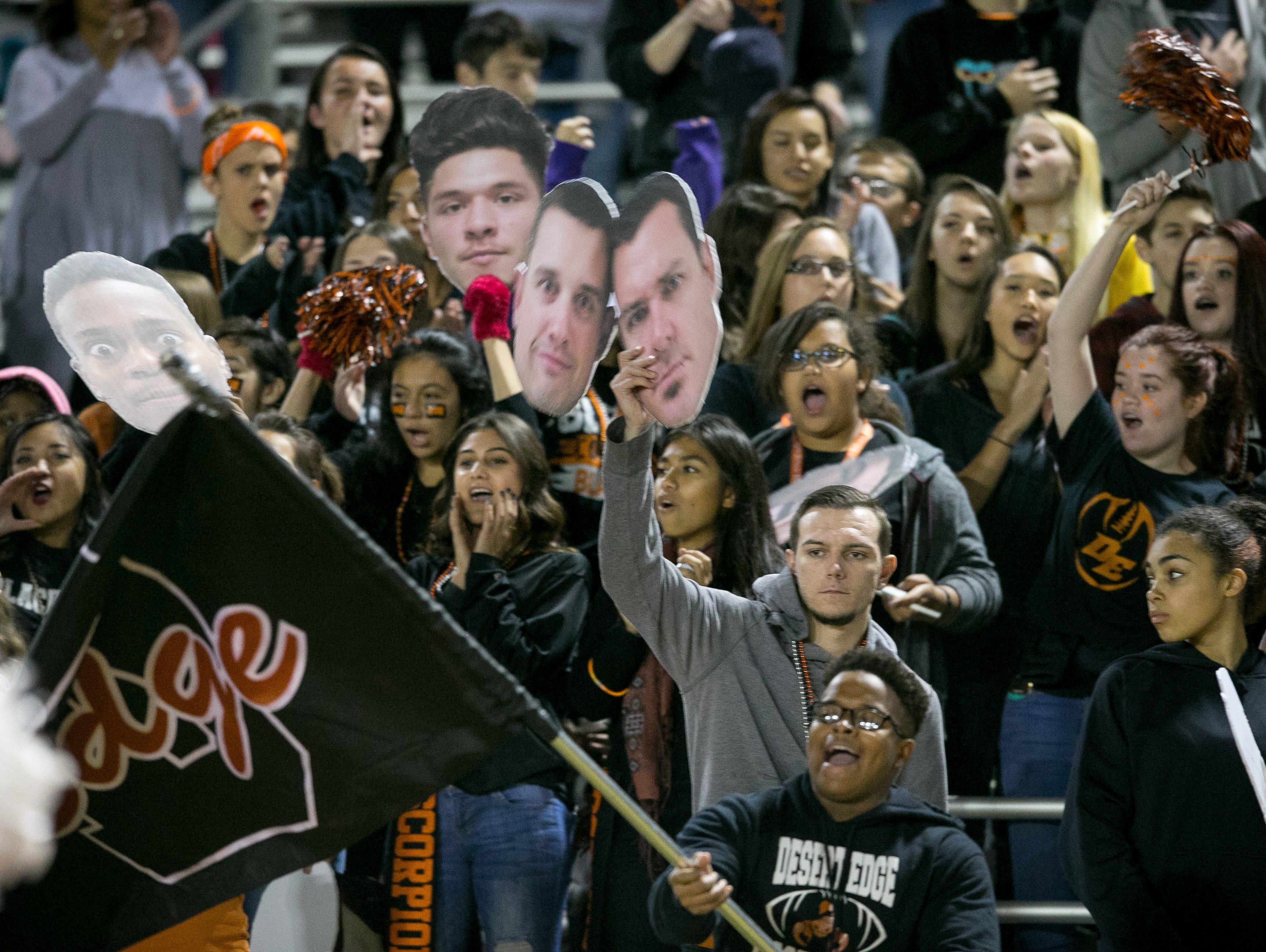 Goodyear Desert Edge fans cheer during their Division III high school football state semifinals game against Buckeye Verrado in Goodyear on Friday, Nov. 20, 2015.
