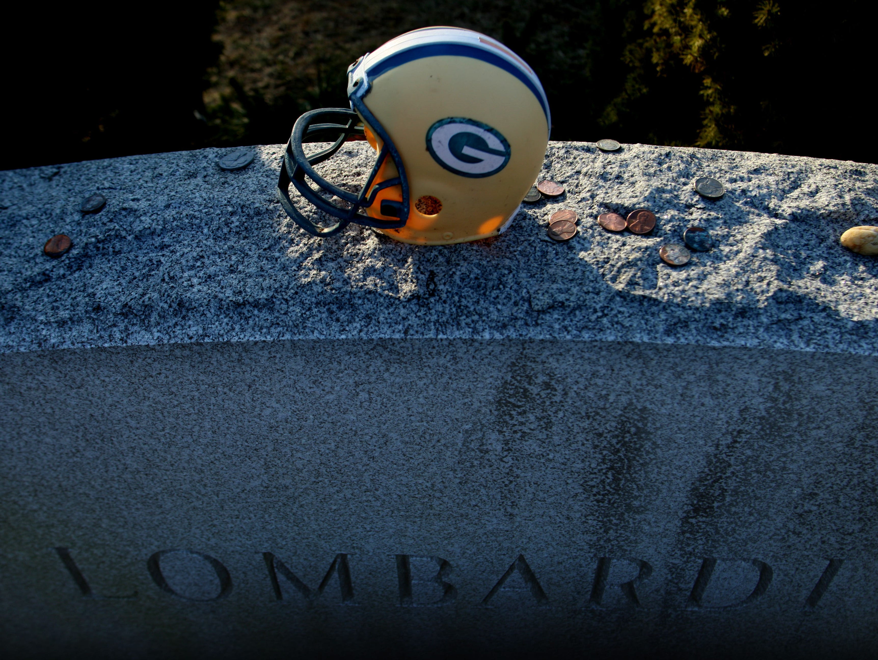 The grave of former Packers coach Vince Lombardi at Mount Olivet Cemetery in Middletown.