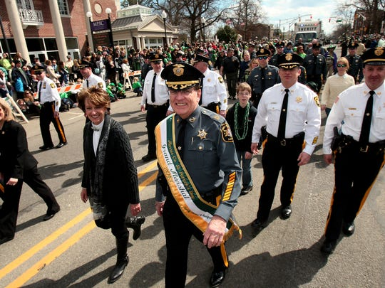 Morris County Sheriff Ed Rochford marches in Morris County's 2014 St. Patrick's Day Parade, featuring 20 bands and about 70,000 in attendance either in the parade or as spectators. The annual Morristown parade is the largest family oriented St. Patrick's Day Parade in all of New Jersey. March 15, 2014, Morristown, NJ.