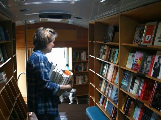 Parnassus on Wheels holds hundreds of books, including