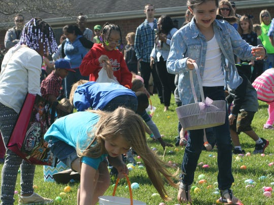 Hundreds of children rounded up Easter Eggs at the annual hunt held at Grace Baptist Church in Springfield on Saturday, March 26, 2016