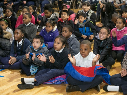 Preservation Hall Jazz Band from New Orleans plays for the students at Hope Academy Charter School in Asbury Park —April 11, 2016 -Asbury Park, NJ.-Staff photographer/Bob Bielk/Asbury Park Press