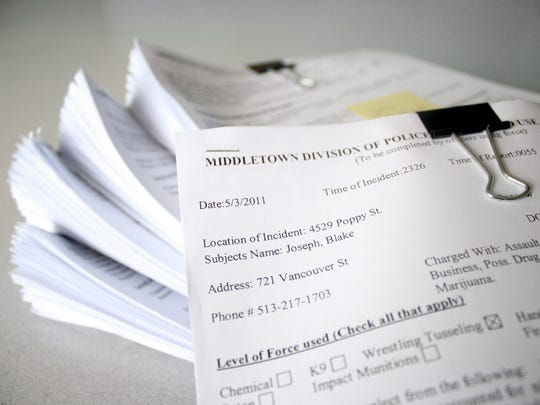 Here are the 700-plus pages of use of force documents provided by the Middletown Police Department as part of a regional survey by The Enquirer.