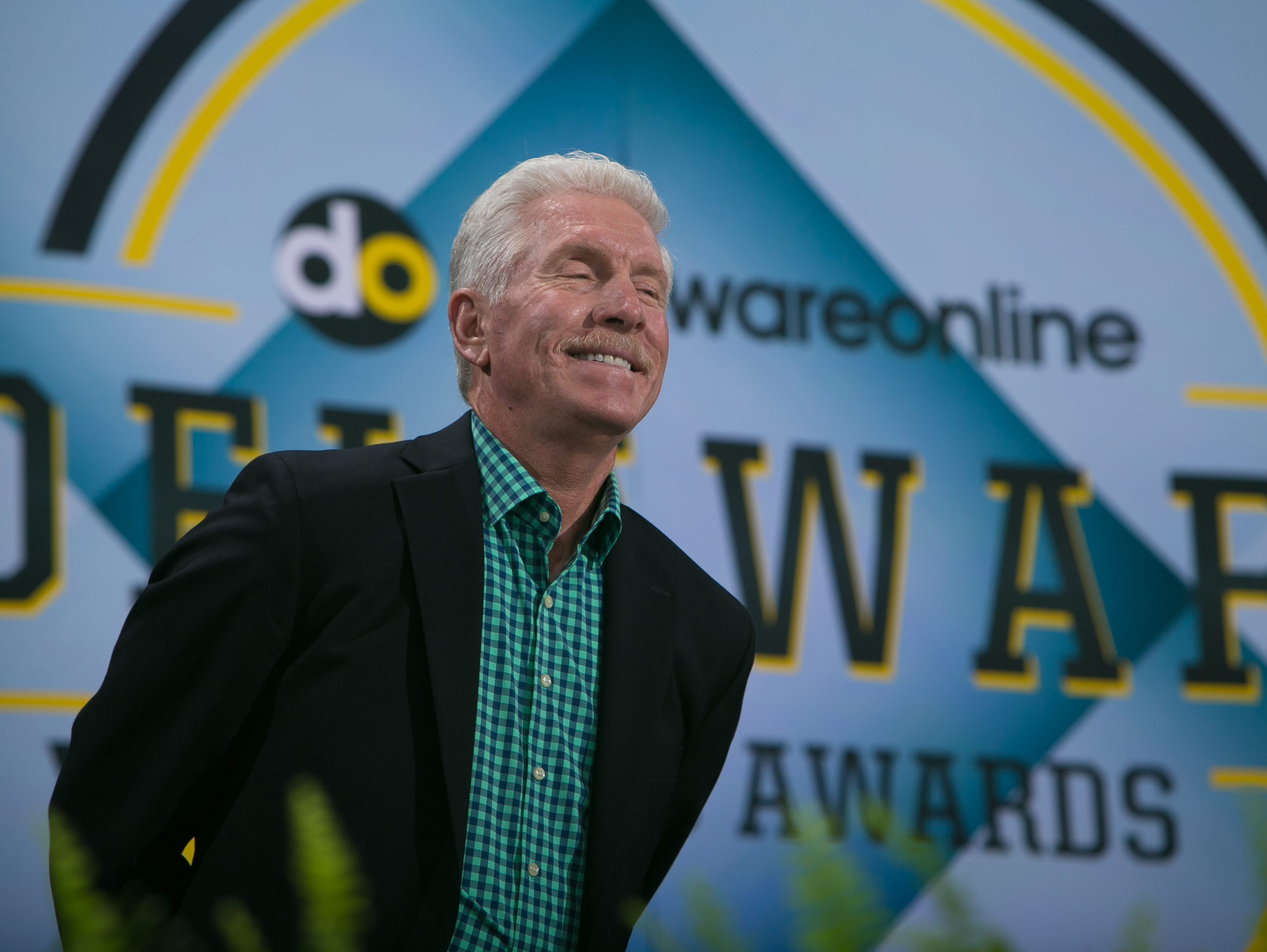 Hall of Famer Mike Schmidt smiles on state as he is announced at the first Delaware Sports Awards at the Bob Carpenter Center.
