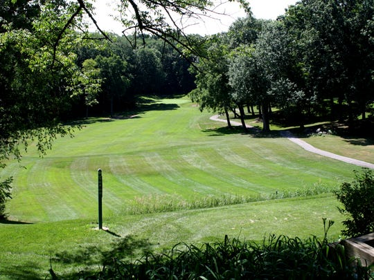 The 12th hole at Huron Hills in Ann Arbor.