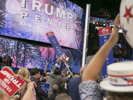 Delegates at the Republican National Convention celebrate after nominee Donald Trump's speech.