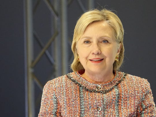 A close-up of presidential candidate Hillary Clinton,
