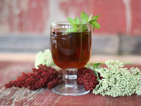 Winter Julep is peppermint tea and bourbon sweetened with brown sugar syrup.