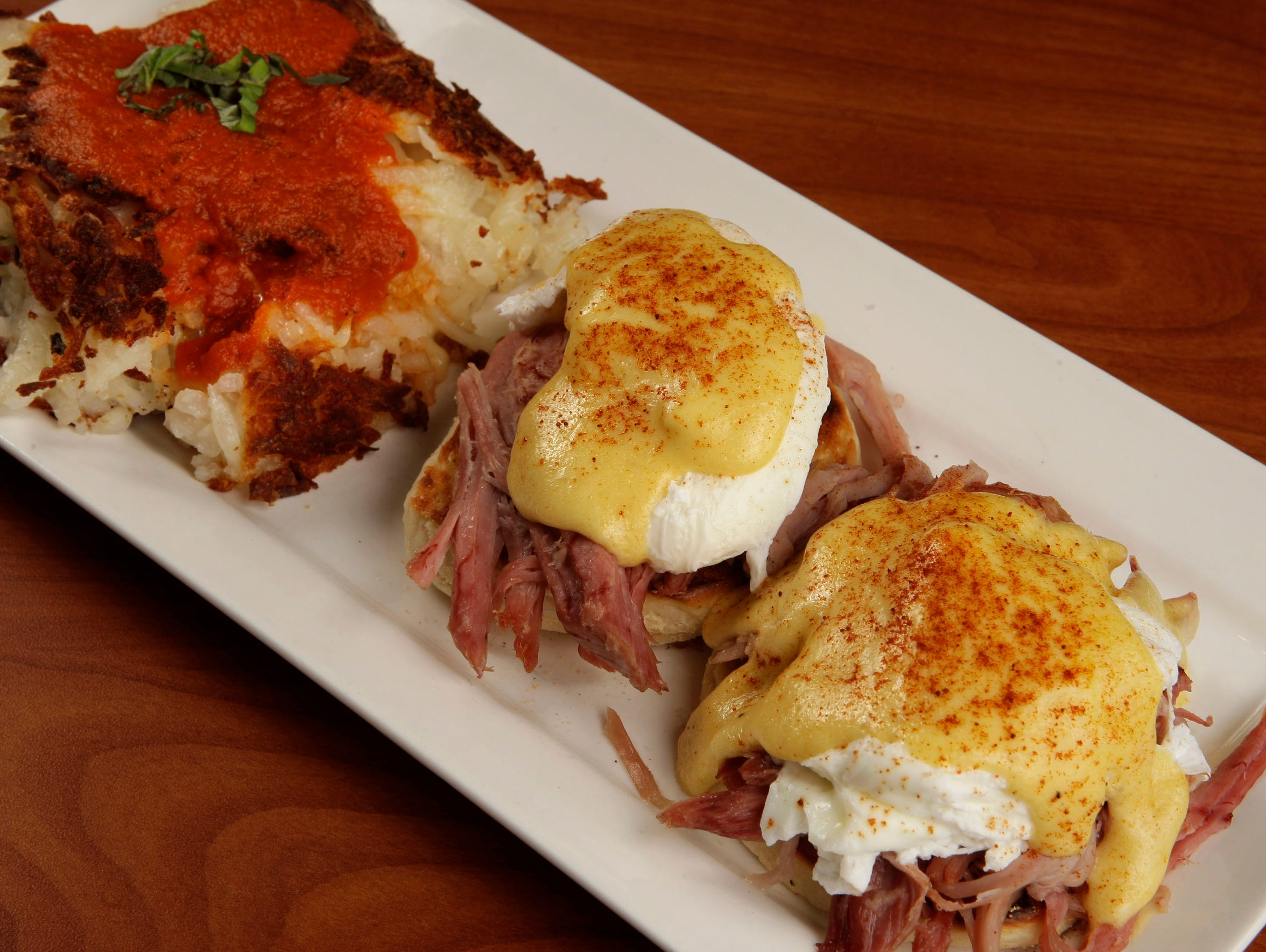 The Blue's Classic Benedict features pulled ham and