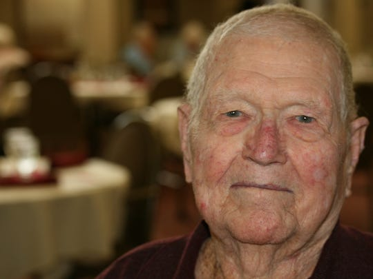"""Lawrence """"Larry"""" Brown, 101, resides at The Gardens Assisted Living on the corner of Sunset and Fort in Springfield."""
