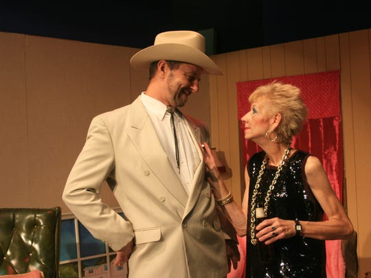 Actors Mark Soopchak and Judy Cook in rehearsal for