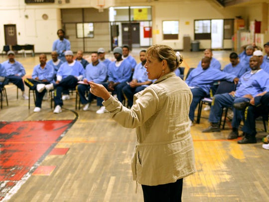 In this file photo, Correctional Counselor Teresa Verdesoto speaks to men at the Correctional Training Facility in Soledad.