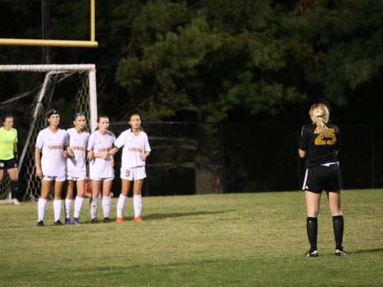 Clarksville High players set up to defend a free kick