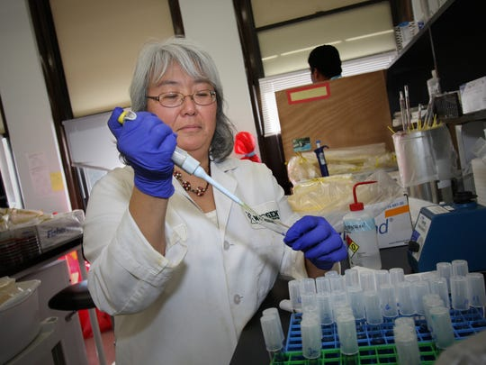 Neogen scientist Debra Foti tests egg samples for salmonella at the company's Allen Street lab in 2010. The company will hold hiring fairs in Lansing to fill nearly 75 jobs.
