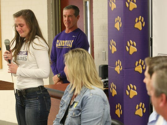 Clarksville High's Lexie Hayes gets emotional as she