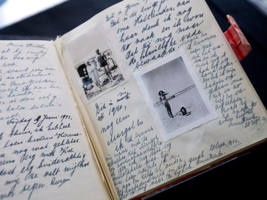 A facsimile of Anne Frank's diary displayed during