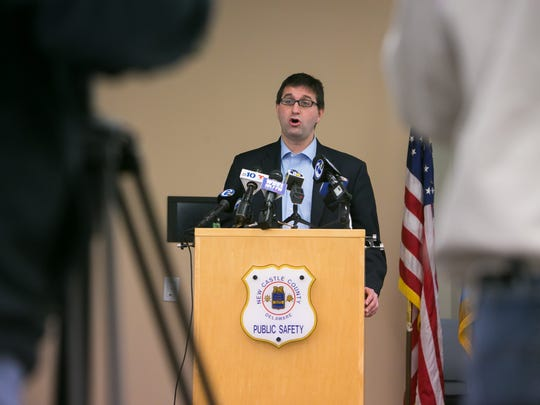 County Executive Matt Meyer speaks at a press conference to report a second kidnapping in the Arundel Apartments community, which they believe was related to a kidnapping that occurred last week.