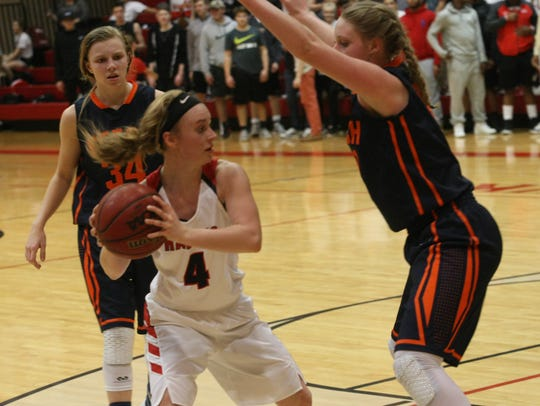 Rossview's Madison Ballance (4) looks for a passing