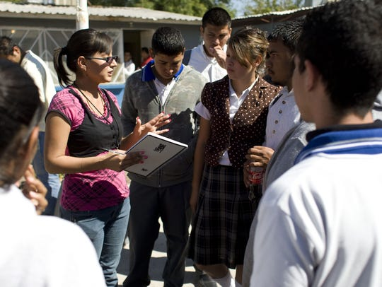Marisol Valles talked with several students October
