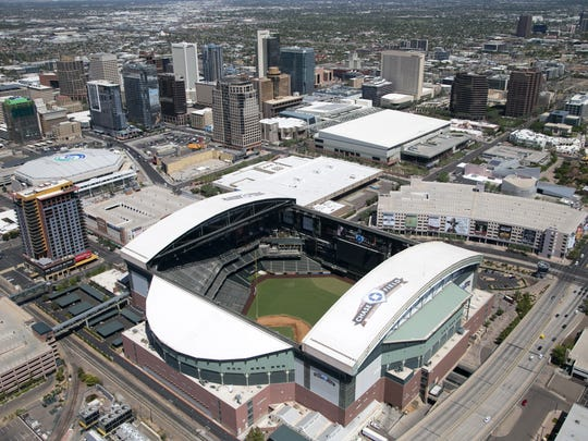An aerial view of Chase Field and downtown Phoenix.