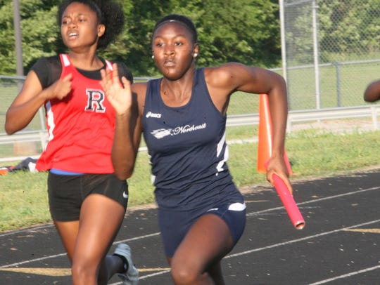Northeast's Clandra Henry sprints down the track during