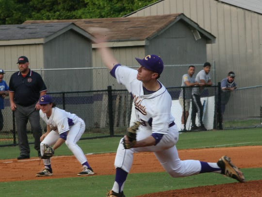 Clarksville High pitcher Luke Chilcutt delivers a pitch