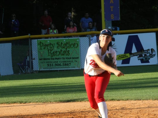 Henry County shortstop Gracie Osbron delivers a throw