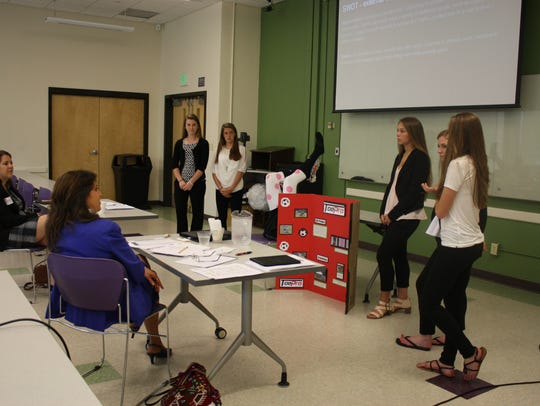 "Newark Valley High School students pitch the ""ToePro,"""