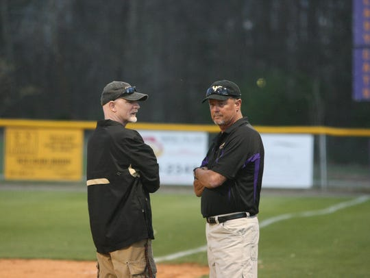 Clarksville High head coach Brian Rush (left) and assistant